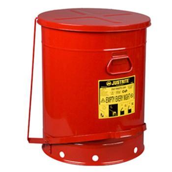 JUSTRITE 废物桶,14加仑油类废物桶,红色,09500