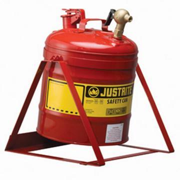 JUSTRITE/杰斯瑞特 红色倾斜安全罐,5加仑/19升,带龙头08540和支架,7150146