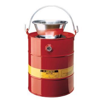 杰斯瑞特JUSTRITE 5加侖(19升)鋼制排水罐,帶鍍鋼漏斗,10905