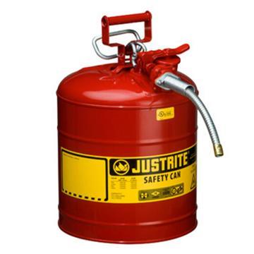 """杰斯瑞特JUSTRITE Ⅱ型鋼制安全罐, 5加侖/19升,帶5/8""""金屬軟管,7250120Z"""