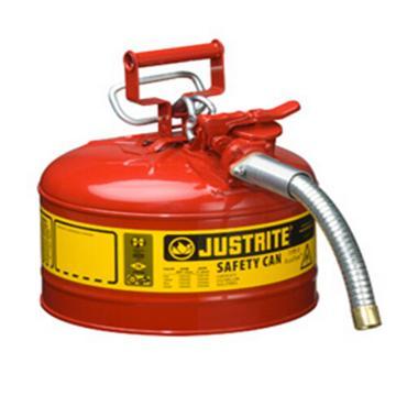 """杰斯瑞特JUSTRITE Ⅱ型鋼制安全罐,2.5加侖/9.5升,帶1""""金屬軟管,7225130Z"""