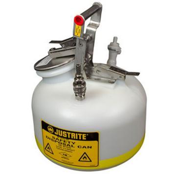 杰斯瑞特JUSTRITE HPLC安全处置罐,2加仑/7.5升,不锈钢1号接头聚丙烯2号接头,BY12752
