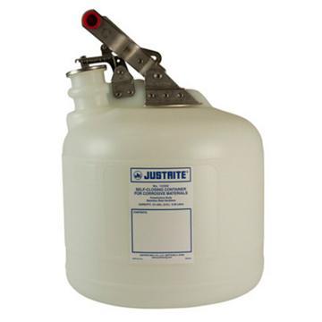 杰斯瑞特JUSTRITE 自动关闭式聚乙烯废物罐(配有不锈钢部件),2.5加仑/9.5升,12260