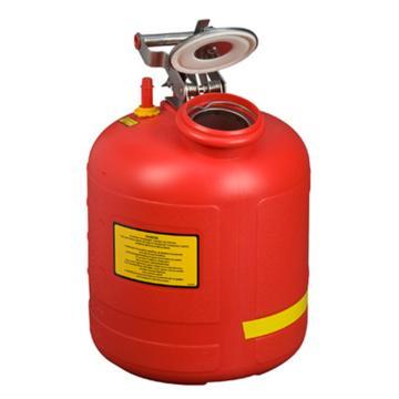 JUSTRITE/杰斯瑞特 聚乙烯罐液体处置罐-红色(配有不锈钢部件),5加仑/19升,14765Z