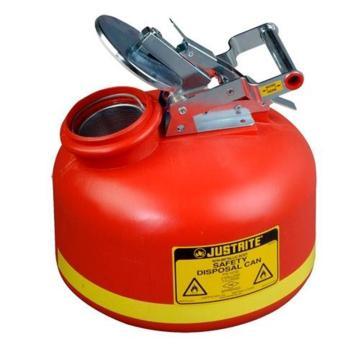 JUSTRITE/杰斯瑞特 聚乙烯罐液体处置罐-红色(配有不锈钢部件),2加仑/7.5升,14762Z