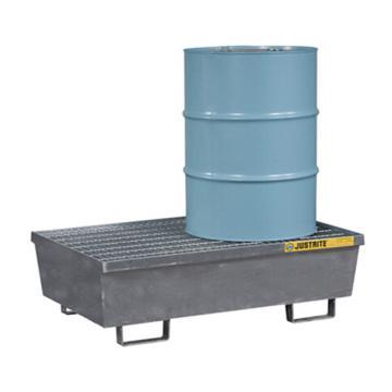 杰斯瑞特JUSTRITE 2桶装钢制盛漏托盘,有插槽,狭长形,可配叉车,28611