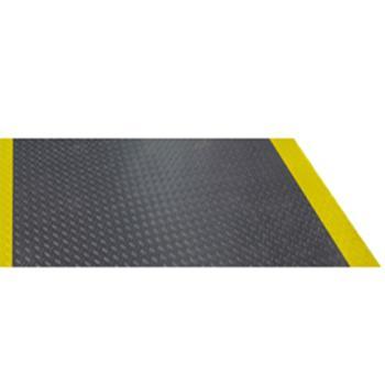 走道垫,黑色+黄边铁板纹胶皮走道垫,0.9m*18m*2.5mm(宽x长x厚)