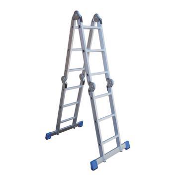 金锚 铝合金多功能折叠梯,踏棍数:12,额定载荷(KG):150,使用高度(米):人字梯1.74/搭靠支持物2.68/直梯3.55/平台梯0.95,FE4×3A