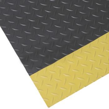 抗疲劳地垫,耐用型铁板纹抗疲劳地垫,黑色+黄边,0.6m*1.5m*12mm(宽x长x厚) 单位:片
