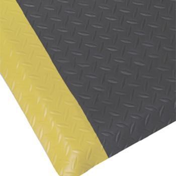 抗疲劳地垫,经济型铁板纹抗疲劳地垫,黑色+黄边,0.6m*0.9m*12mm(宽x长x厚)