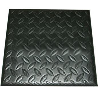 力九和 抗疲勞地墊,經濟型鐵板紋抗疲勞地墊,黑色,0.9m*18m*12mm(寬x長x厚) 單位:片