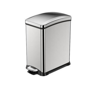 EKO静音不锈钢脚踏垃圾桶,8L 33.2x17.8x33.6cm