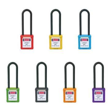 长梁绝缘安全挂锁(红)-高强度工程塑料锁体及锁梁,红色,绝缘锁梁Φ6mm,高76mm,14678