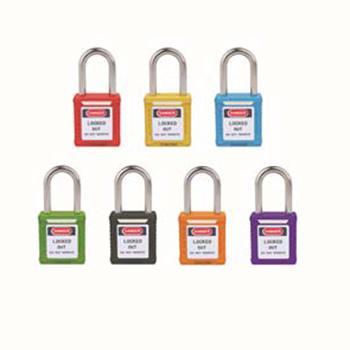工程塑料安全挂锁(黄)-高强度工程塑料锁体,钢制锁梁,黄色,锁梁Φ6mm,高38mm,14658
