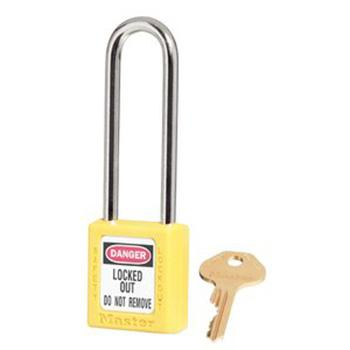 Master Lock 6mm锁钩,锁钩净高76mm,44mm高,黄色XENOY工程塑料安全锁,410MCNLTYLW