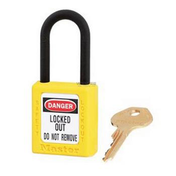 Master Lock 黄色XENOY工程塑料安全锁,塑料锁钩、绝缘、防磁、防电火花,406MCNYLW
