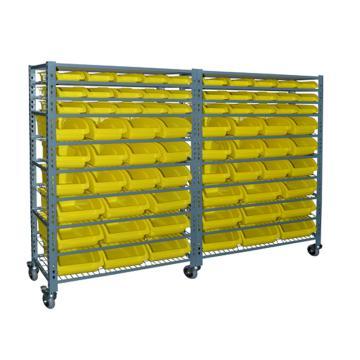 STORAGEMAID 可移动零件盒货架组,并排组合尺寸(mm):855*800*1710,连排组合尺寸(mm):1730*400*1710,含2组移动货架/72个黄色零件盒/18层网片/顶板(安装费另询),BRS003