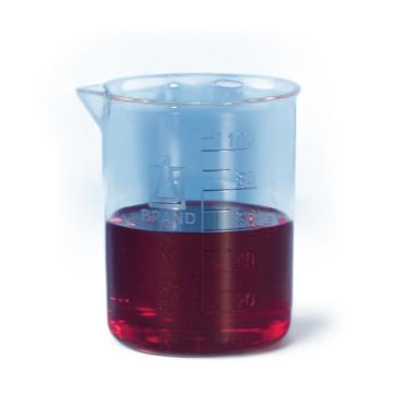 BRAND烧杯,低型,PP材质,250: 50ml,蚀刻刻度,6个/包
