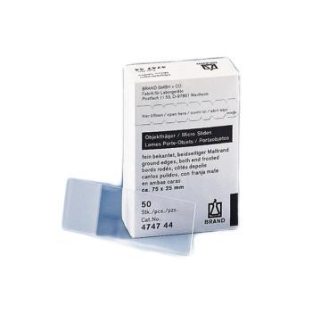 BRAND显微镜玻片,白色/透明,锐利边缘(磨砂),标准包装,2500个/箱