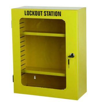 安赛瑞 锁具管理箱(空箱)-黄色,内置2个层板,透明箱门可上锁,360×450×155mm,14737