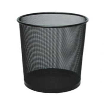 齐心 B2005 耐用铁网圆纸篓 中号 黑