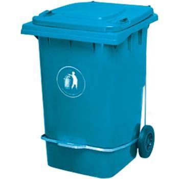 垃圾桶,脚踏式两轮移动垃圾箱,360L,蓝