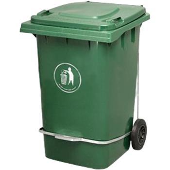 垃圾桶,脚踏式两轮移动垃圾箱,360L,墨绿