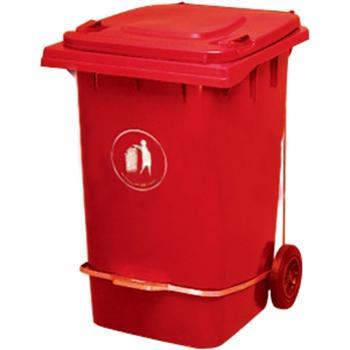垃圾桶,脚踏式两轮移动垃圾箱,360L,红