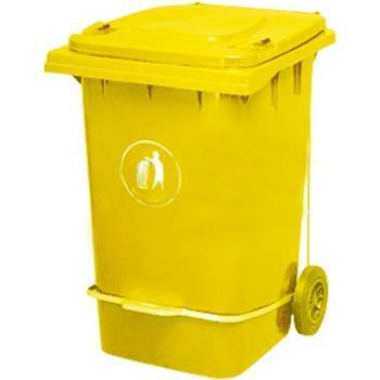 垃圾桶,脚踏式两轮移动垃圾箱,360L,黄