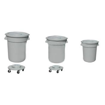 圆形垃圾桶连平盖,80L,浅灰