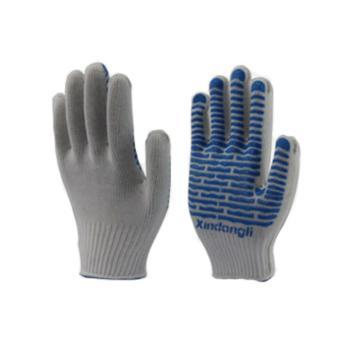 西域推荐 点塑手套,波浪纹PVC点胶防护手套,23cm