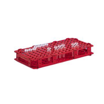 BRAND试管架,可放置84只最大直径为13mm的试管,红色,5个/包
