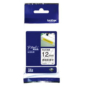 兄弟 標簽色帶, 透明底/黑字(強粘性) 12mmTZe-S131 (升級為TZE-ZS131) 單位:卷