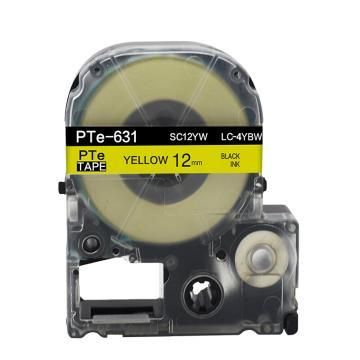 愛普生(EPSON)標簽帶色帶標簽紙, 12mm 黃底黑字 強粘性LK-4YBW 單位:個