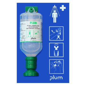 Plum洗眼液套装,含2瓶弱酸、弱碱、颗粒物、粉尘洗眼液,16盎司(500ml)+单瓶挂板,4696