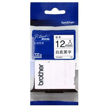 兄弟(BROTHER) PT-D200(KT) 标签打印机不干标签胶带, TZe-R231白底黑字(缎带) 单位:盒