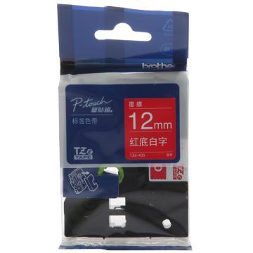 兄弟 色帶,紅底/白字,12mm TZE-435( 后期型號升級為TZE-Z435,產品不變) 單位:卷