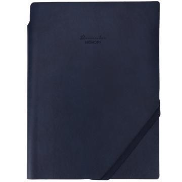 得力 蓝色皮面本,PU材质 25K/96页 商务记事本 可插笔斜绑带笔记本 22215 单位:本