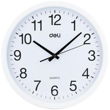 得力(deli) 圆形 挂钟钟表 客厅挂式静音钟表 9006 37cm简约时尚挂钟 白色 单位:只