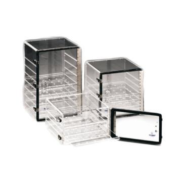 NALGENE干燥器,丙烯酸,不锈钢的门插销和铰链;氯丁橡胶垫圈,搁板数2,槽数3