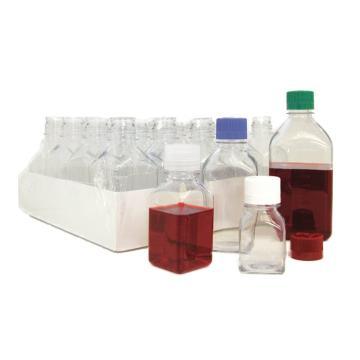 NALGENE有刻度方形瓶,托盘包装,无盖,聚碳酸酯,125毫升容量,每箱96