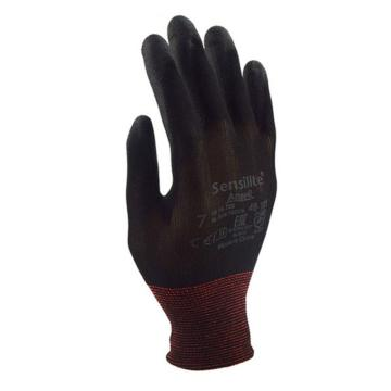 Ansell 48-101-9 PU掌部涂层手套,黑色,12副/打