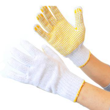 西域推荐 点塑手套,线织手套 漂白纱线点塑手套 780g,12副/打
