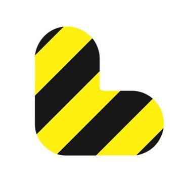 安赛瑞 5S管理地贴-L型,黄/黑,100×100mm,15806,10个/包