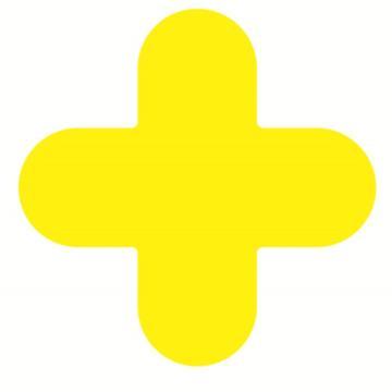 安赛瑞 5S管理地贴-十型,黄色,150×150mm,15780,10个/包