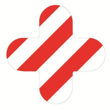 安赛瑞 5S管理地贴-十型,红/白,150×150mm,15810,10个/包