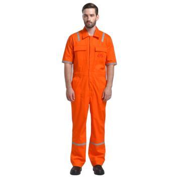 诚格240g/m2阻燃短袖连体服,橙色,S