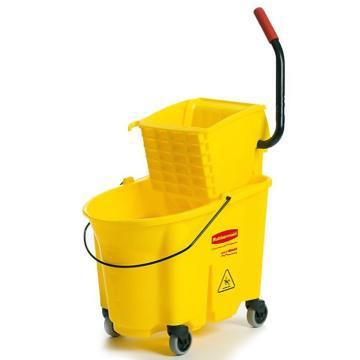 樂柏美Rubbermaid WaveBrake 防溢側壓式拖把壓水桶組合,758088黃色