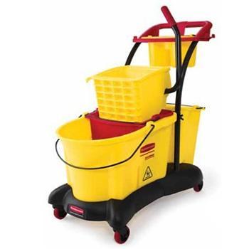 乐柏美WaveBrake 防溢侧压式拖地设备清洁推车,黄色