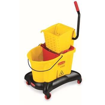 乐柏美WaveBrake 防溢双侧压式拖把压水桶组合,黄色